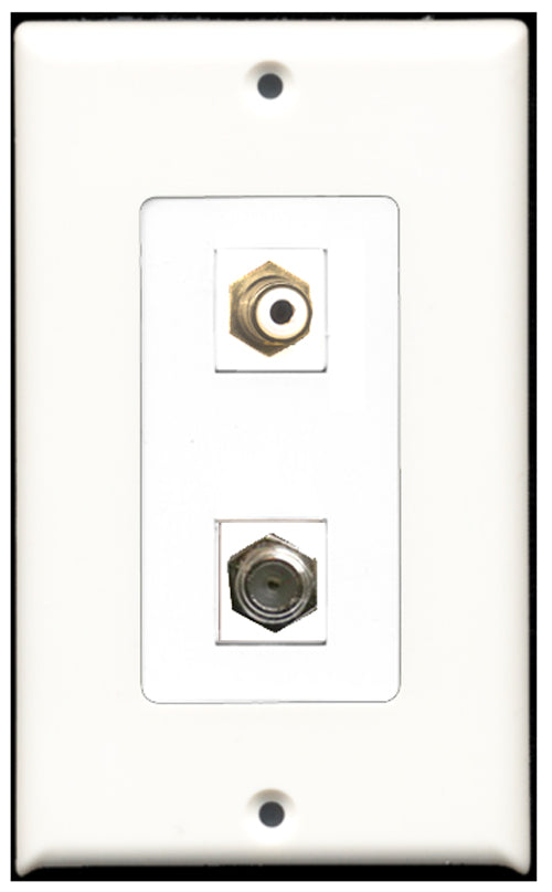 Wallplate City - 1 Port RCA White 1 Port Coax Decora Type Female F/F Keystone Jack Wall Plate White