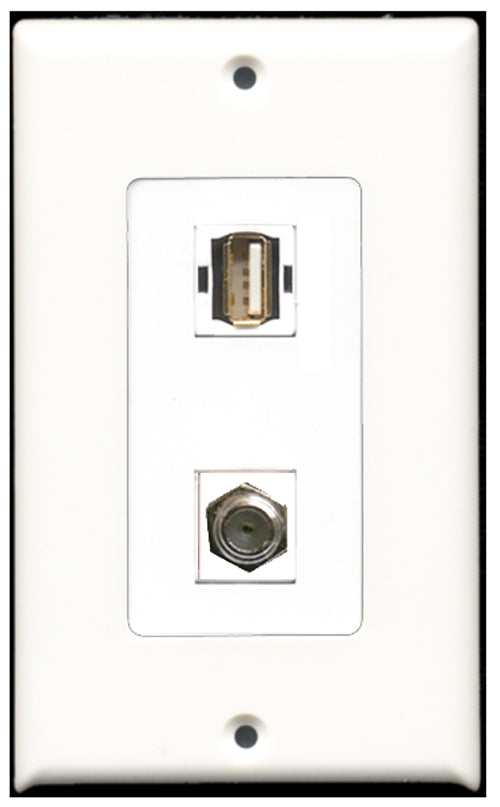 Wallplate City - 1 Port Coax 1 Port USB A-A Decora Type Female F/F Keystone Jack Wall Plate White
