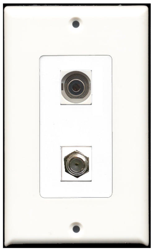 Wallplate City - 1 Port Coax 1 Port 3.5mm Decora Type Female F/F Keystone Jack Wall Plate White