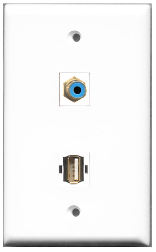 Wallplate City - 1 Port RCA Blue 1 Port USB A-A Female F/F Keystone Jack Wall Plate White