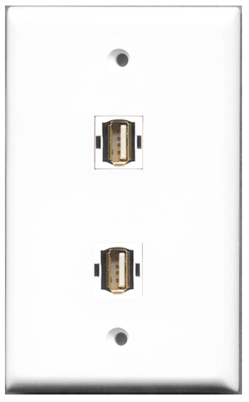 Wallplate City - 2 Port USB A-A Female F/F Keystone Jack Wall Plate White