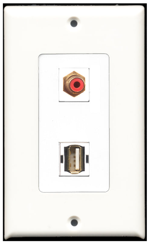Wallplate City - 1 Port RCA Red 1 Port USB A-A Decora Type Female F/F Keystone Jack Wall Plate White