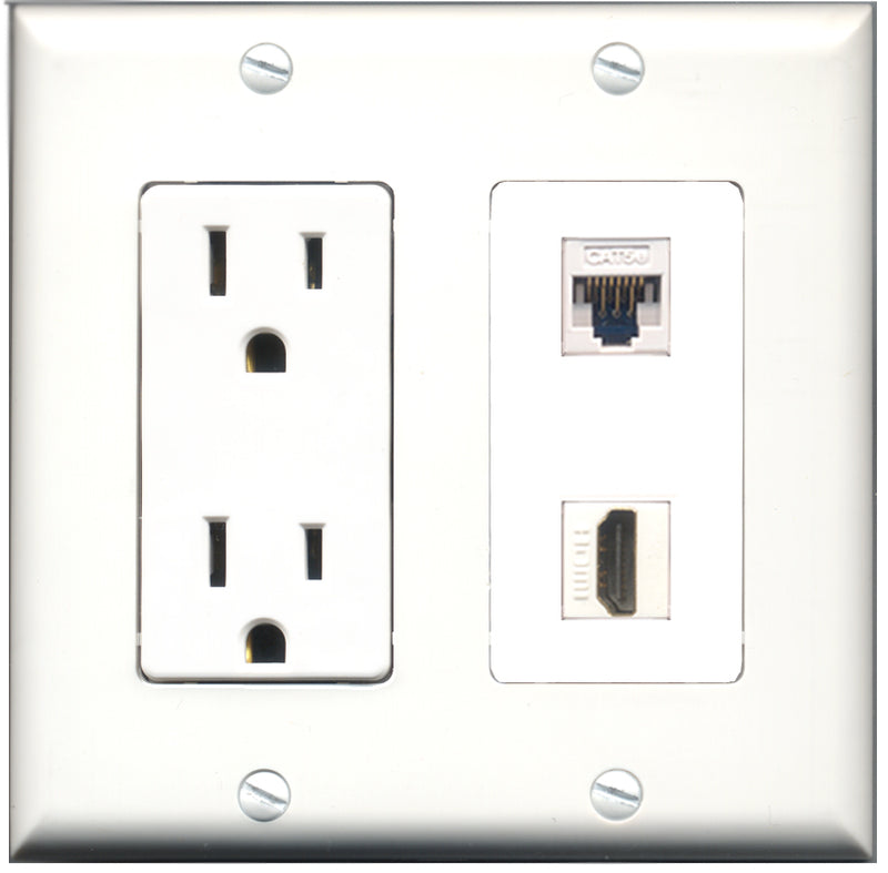 Wallplate City - 15 Amp Power Outlet 1 Port HDMI 1 Port Cat5e White Decorative Wall Plate