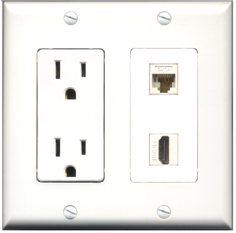 Wallplate City - 15 Amp Power Outlet 1 Port HDMI 1 Port Cat6 White Decorative Wall Plate