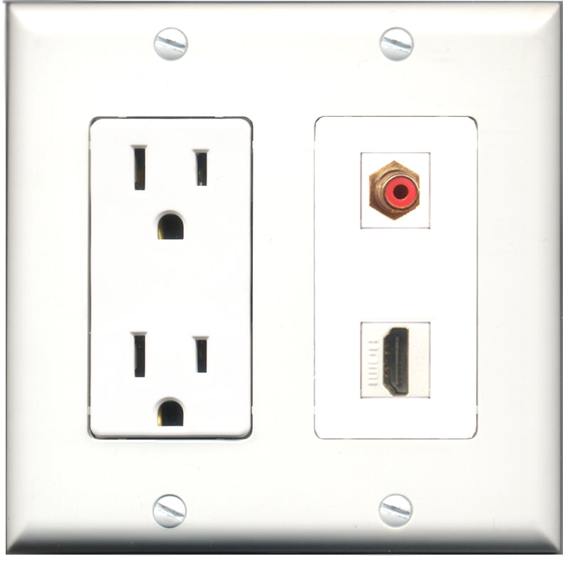 Wallplate City - 15 Amp Power Outlet 1 Port HDMI 1 Port RCA Red Decorative Wall Plate