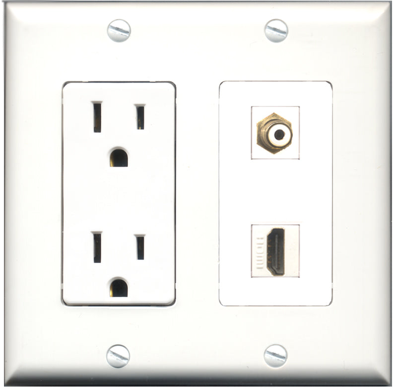 Wallplate City - 15 Amp Power Outlet 1 Port HDMI 1 Port RCA White Decorative Wall Plate