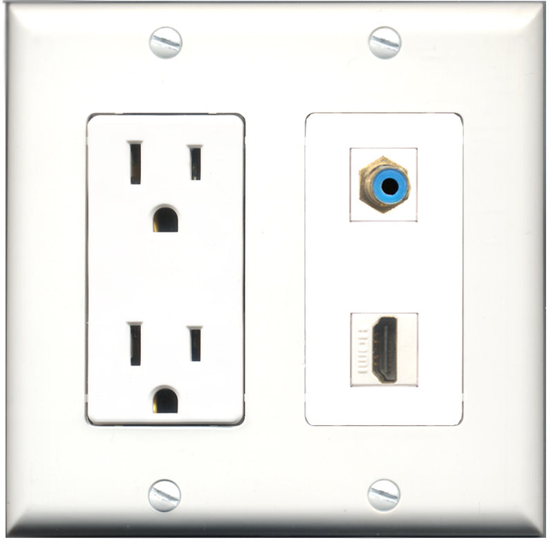 Wallplate City - 15 Amp Power Outlet 1 Port HDMI 1 Port RCA Blue Decorative Wall Plate