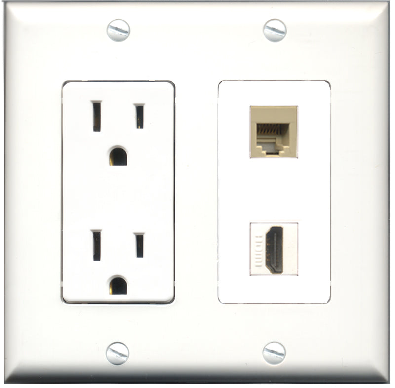 Wallplate City - 15 Amp Power Outlet 1 Port HDMI 1 Port Phone RJ11 RJ12 Beige Decorative Wall Plate