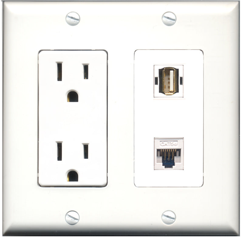 Wallplate City - 15 Amp Power Outlet 1 Port USB A-A 1 Port Cat5e White Decorative Wall Plate