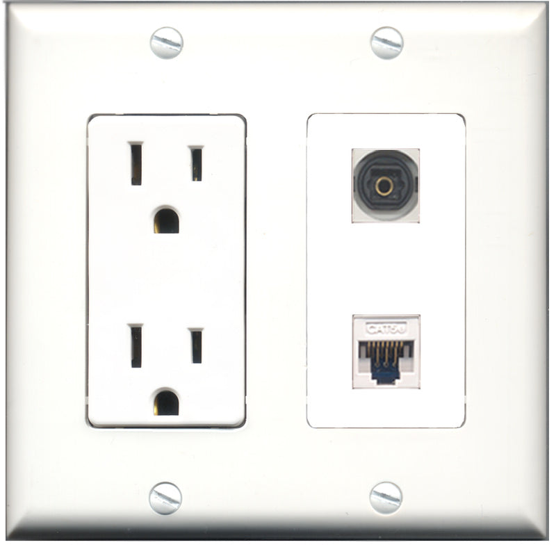 Wallplate City - 15 Amp Power Outlet 1 Port Toslink 1 Port Cat5e White Decorative Wall Plate