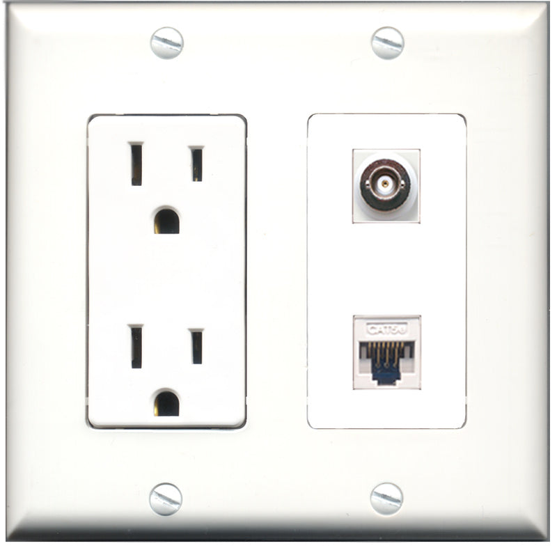 Wallplate City - 15 Amp Power Outlet 1 Port BNC 1 Port Cat5e White Decorative Wall Plate
