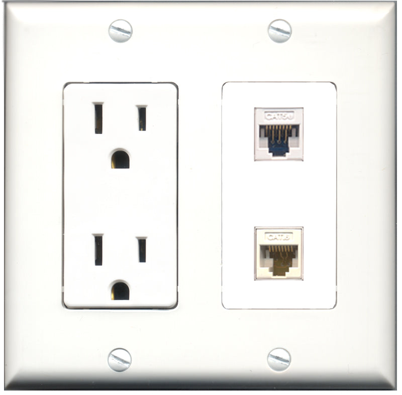 Wallplate City - 15 Amp Power Outlet 1 Port Cat5e White 1 Port Cat6 White Decorative Wall Plate