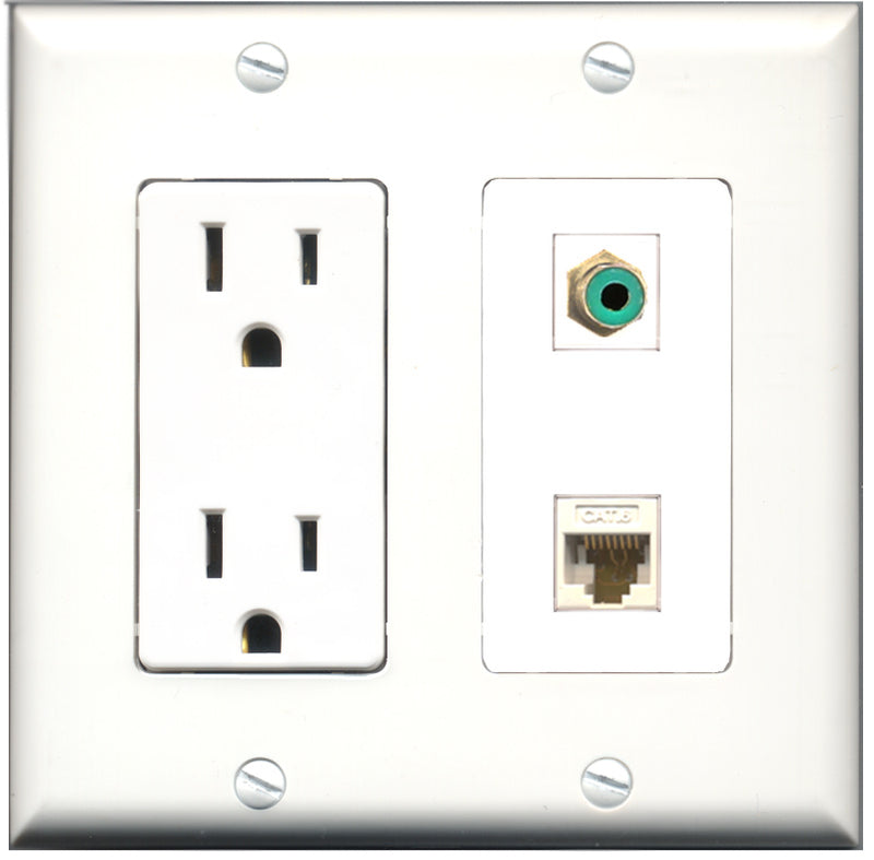 Wallplate City - 15 Amp Power Outlet 1 Port RCA Green 1 Port Cat6 White Decorative Wall Plate