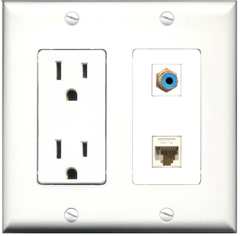 Wallplate City - 15 Amp Power Outlet 1 Port RCA Blue 1 Port Cat6 White Decorative Wall Plate