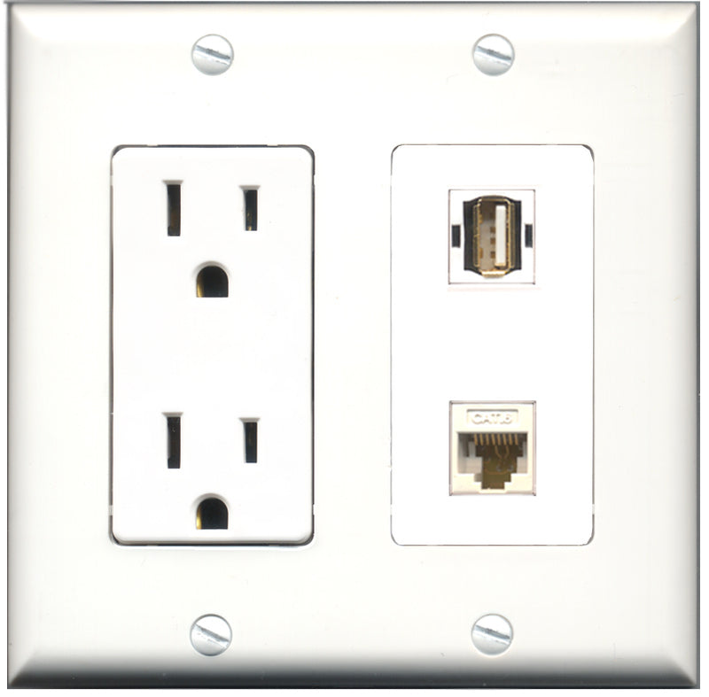 Wallplate City - 15 Amp Power Outlet 1 Port USB A-A 1 Port Cat6 White Decorative Wall Plate