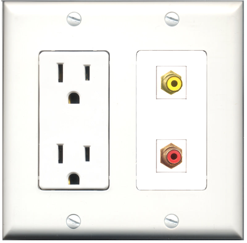 Wallplate City - 15 Amp Power Outlet 1 Port RCA Red 1 Port RCA Yellow Decorative Wall Plate