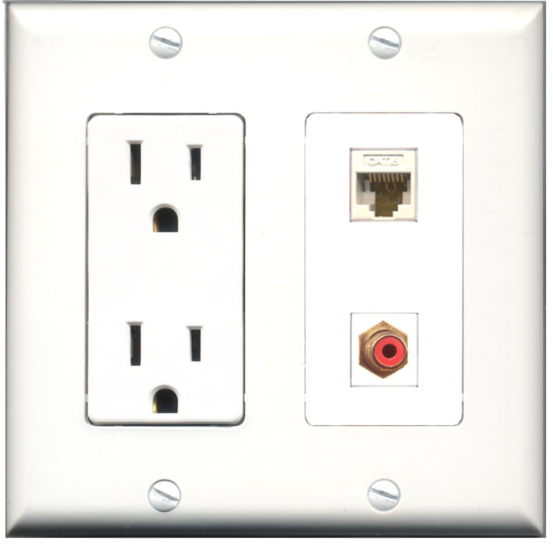 Wallplate City - 15 Amp Power Outlet 1 Port RCA Red 1 Port RCA Green Decorative Wall Plate