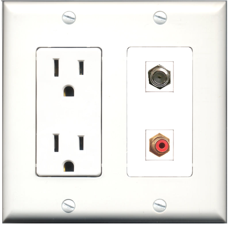 Wallplate City - 15 Amp Power Outlet 1 Port RCA Red 1 Port Coax Decorative Wall Plate