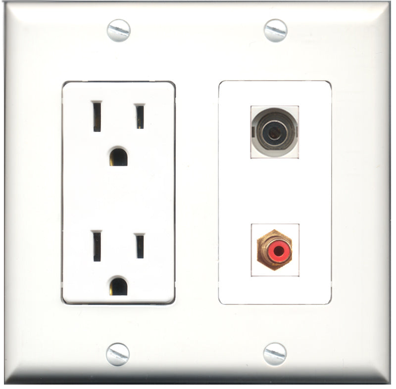 Wallplate City - 15 Amp Power Outlet 1 Port RCA Red 1 Port 3.5mm Decorative Wall Plate