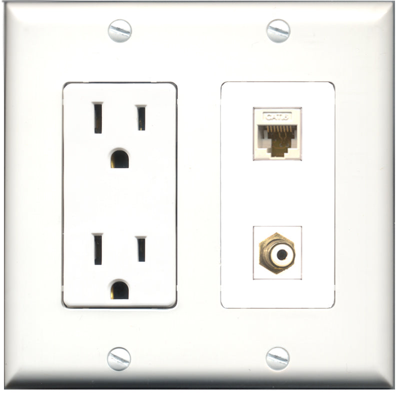 Wallplate City - 15 Amp Power Outlet 1 Port RCA White 1 Port Cat6 White Decorative Wall Plate
