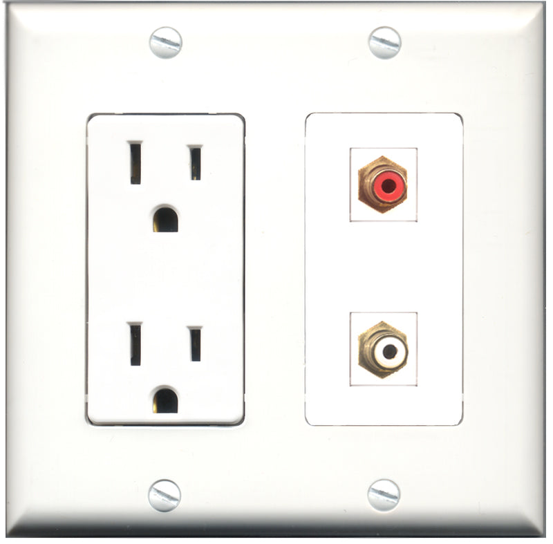 Wallplate City - 15 Amp Power Outlet 1 Port RCA Red 1 Port RCA White Decorative Wall Plate