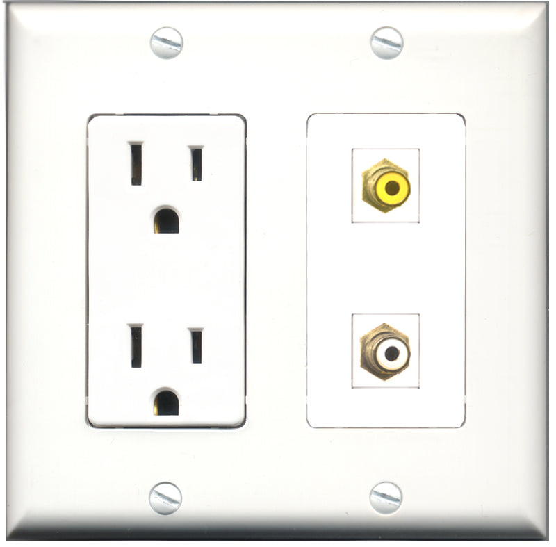 Wallplate City - 15 Amp Power Outlet 1 Port RCA White 1 Port RCA Yellow Decorative Wall Plate