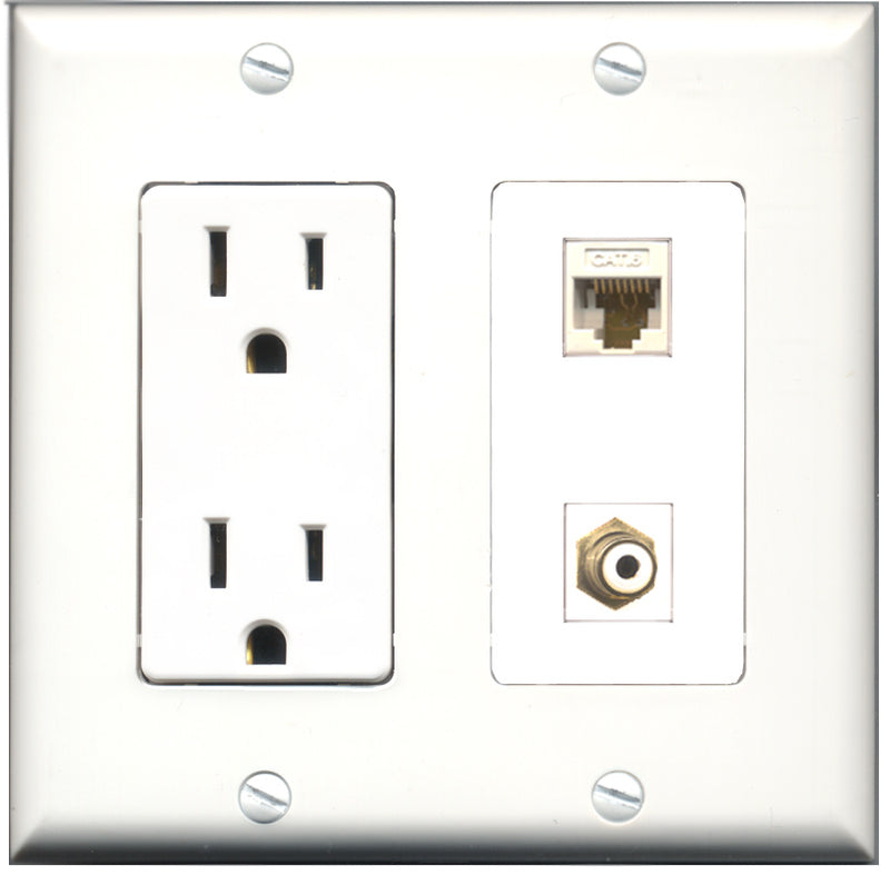 Wallplate City - 15 Amp Power Outlet 1 Port RCA White 1 Port RCA Blue Decorative Wall Plate