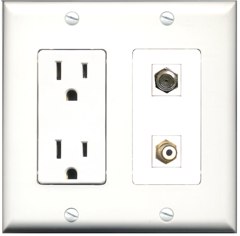 Wallplate City - 15 Amp Power Outlet 1 Port RCA White 1 Port Coax Decorative Wall Plate
