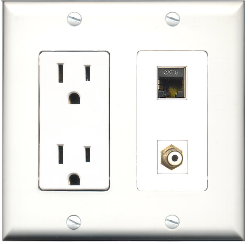 Wallplate City - 15 Amp Power Outlet 1 Port RCA White 1 Port Shielded Cat6 Decorative Wall Plate