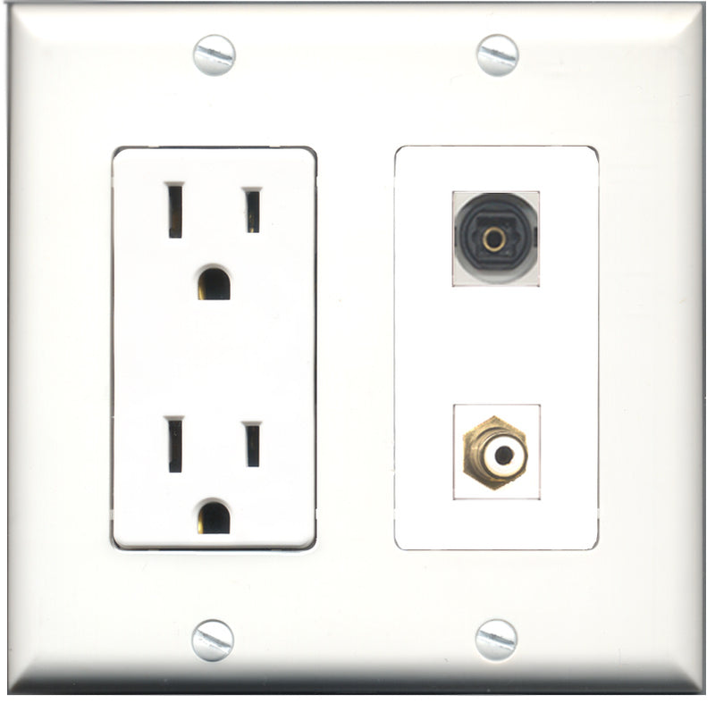 Wallplate City - 15 Amp Power Outlet 1 Port RCA White 1 Port Toslink Decorative Wall Plate