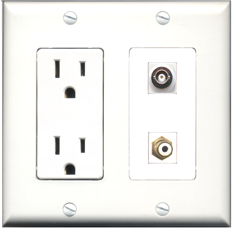Wallplate City - 15 Amp Power Outlet 1 Port RCA White 1 Port BNC Decorative Wall Plate