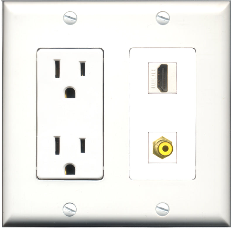 Wallplate City - 15 Amp Power Outlet 1 Port HDMI 1 Port RCA Yellow Decorative Wall Plate