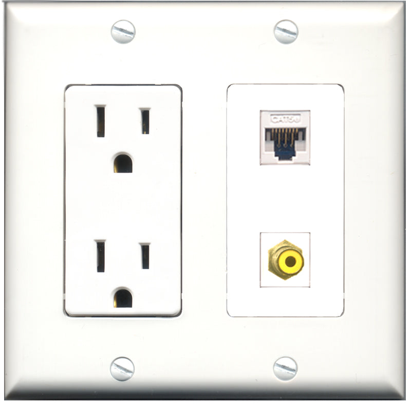 Wallplate City - 15 Amp Power Outlet 1 Port RCA Yellow 1 Port Cat5e White Decorative Wall Plate