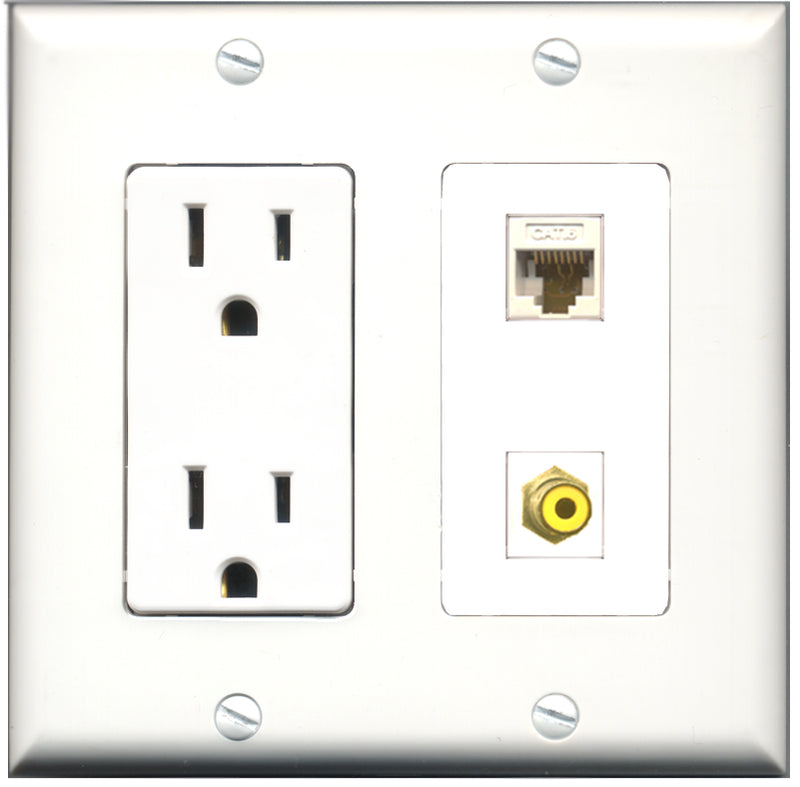 Wallplate City - 15 Amp Power Outlet 1 Port RCA Yellow 1 Port Cat6 White Decorative Wall Plate