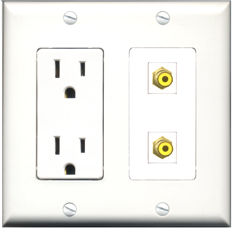 Wallplate City - 15 Amp Power Outlet 2 Port RCA Yellow Decorative Wall Plate