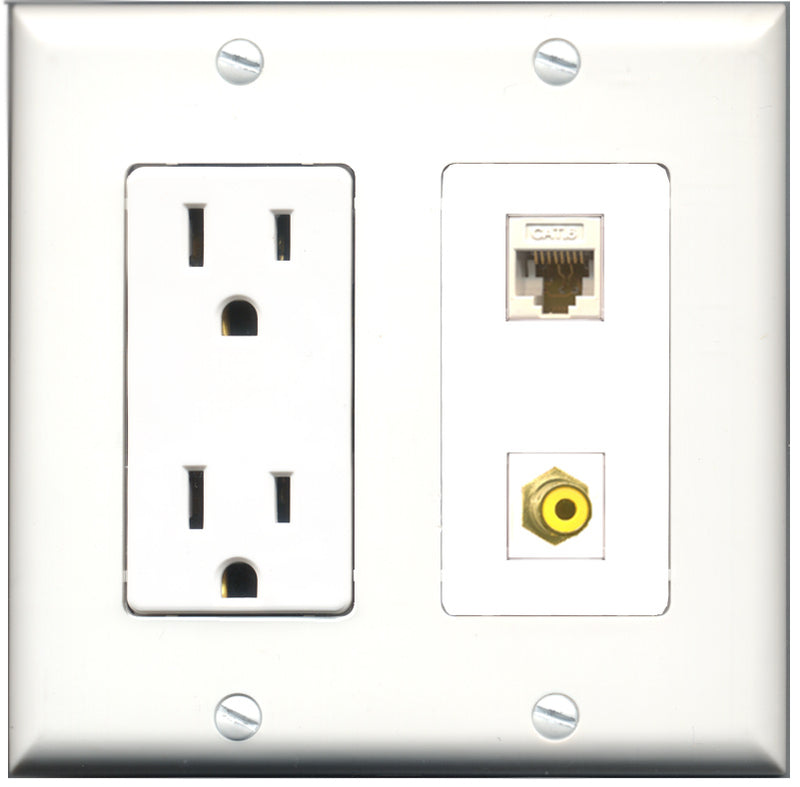 Wallplate City - 15 Amp Power Outlet 1 Port RCA Yellow 1 Port RCA Green Decorative Wall Plate