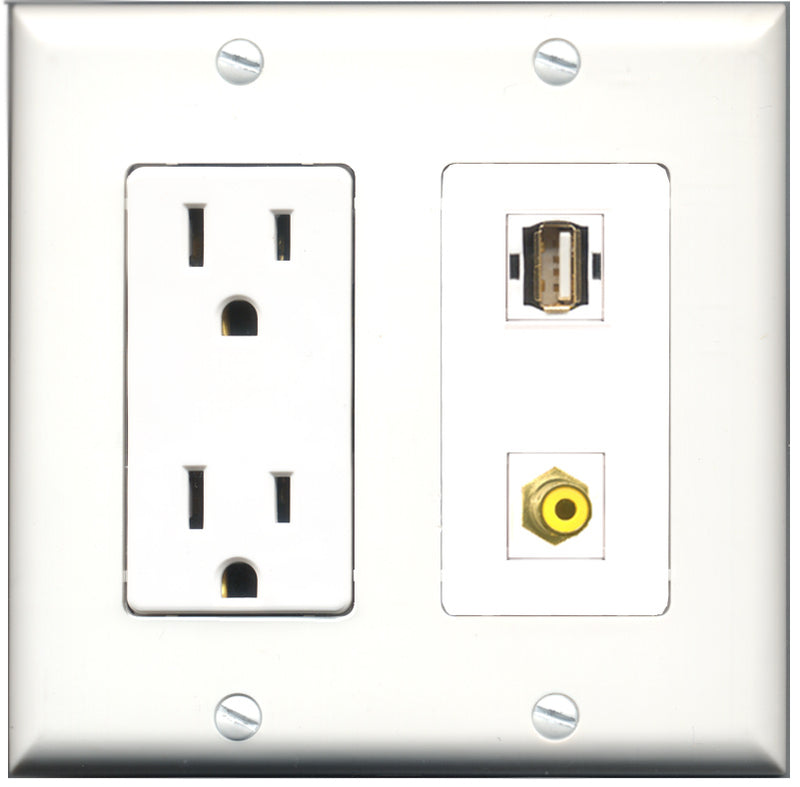 Wallplate City - 15 Amp Power Outlet 1 Port RCA Yellow 1 Port USB A-A Decorative Wall Plate