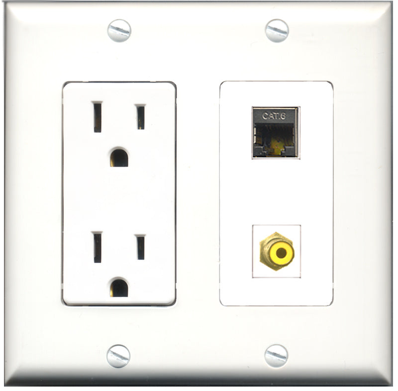 Wallplate City - 15 Amp Power Outlet 1 Port RCA Yellow 1 Port Shielded Cat6 Decorative Wall Plate