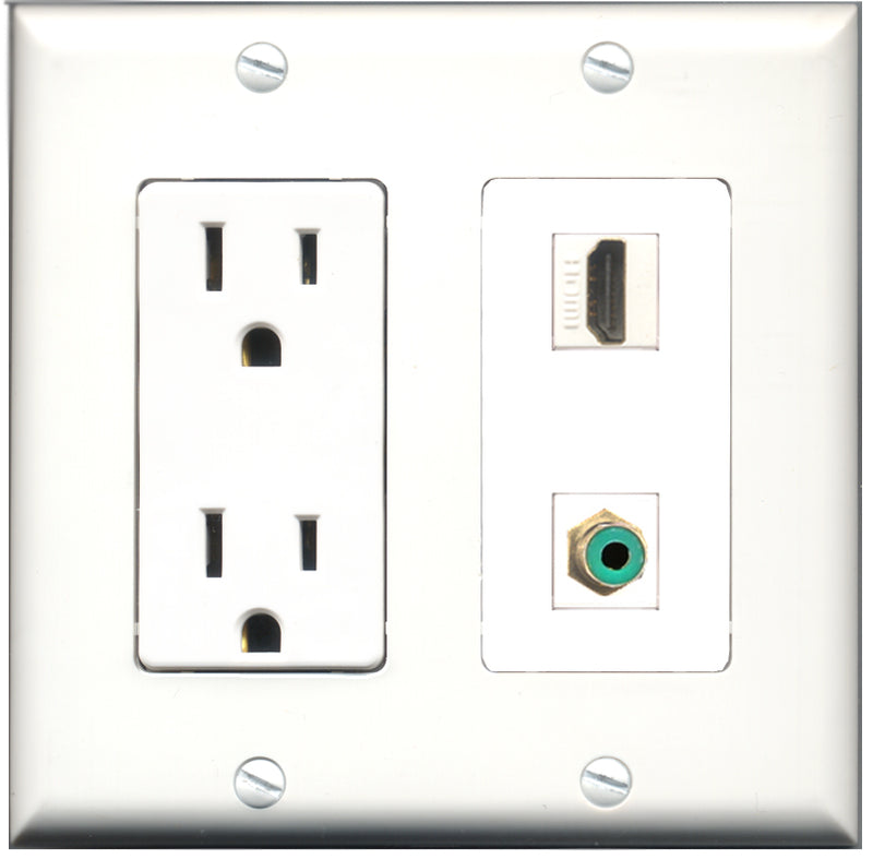 Wallplate City - 15 Amp Power Outlet 1 Port HDMI 1 Port RCA Green Decorative Wall Plate