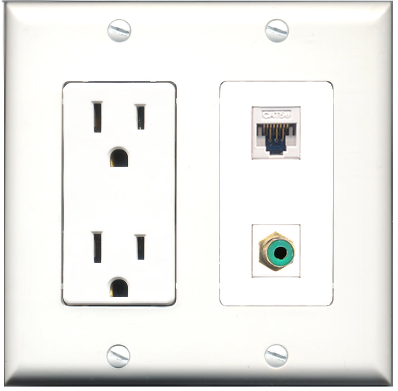 Wallplate City - 15 Amp Power Outlet 1 Port RCA Green 1 Port Cat5e White Decorative Wall Plate