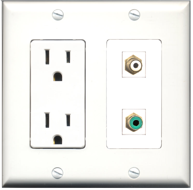 Wallplate City - 15 Amp Power Outlet 1 Port RCA White 1 Port RCA Green Decorative Wall Plate