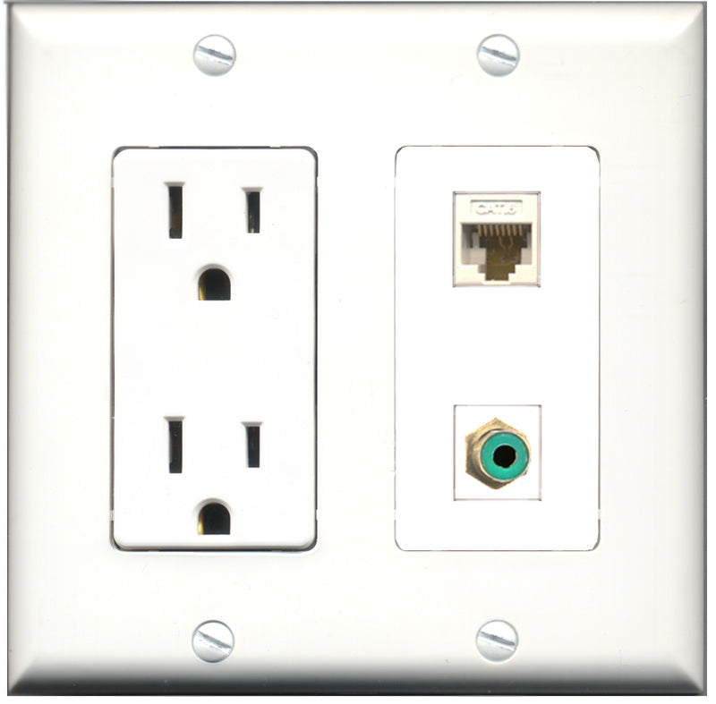 Wallplate City - 15 Amp Power Outlet 1 Port RCA Green 1 Port RCA Blue Decorative Wall Plate