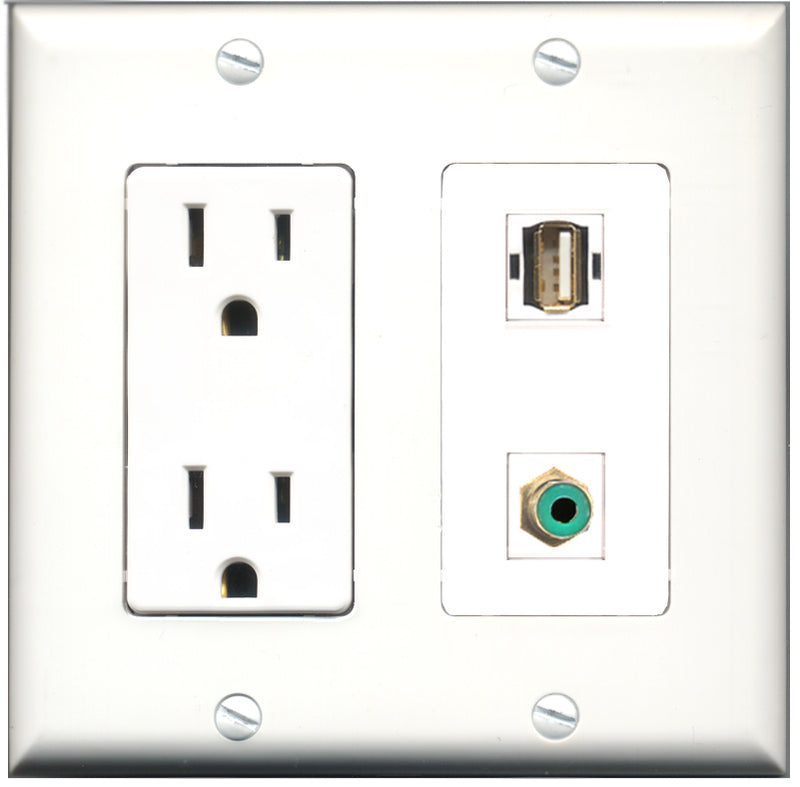 Wallplate City - 15 Amp Power Outlet 1 Port RCA Green 1 Port USB A-A Decorative Wall Plate