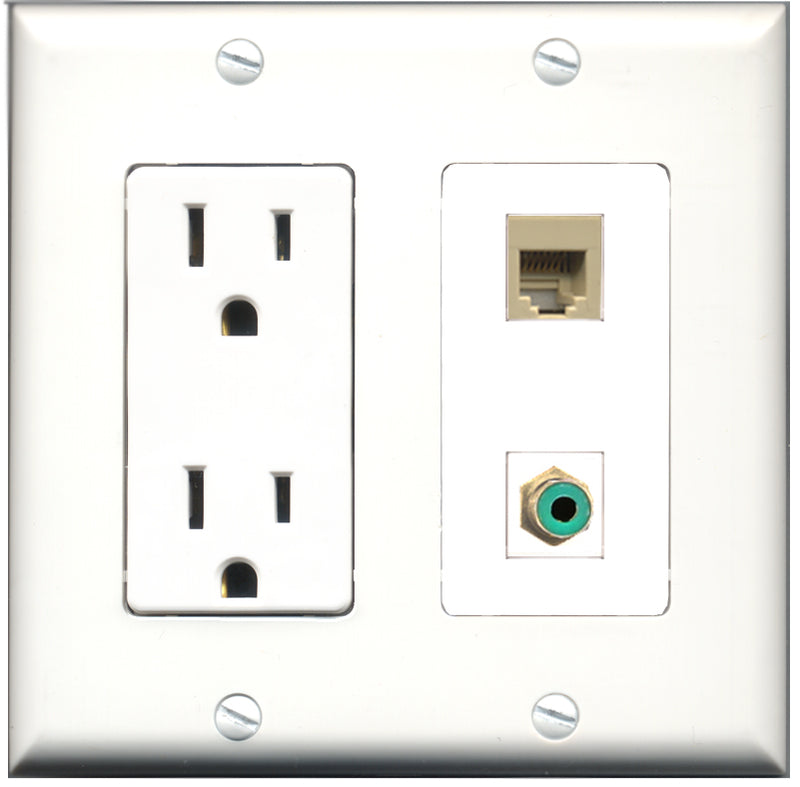 Wallplate City - 15 Amp Power Outlet 1 Port RCA Green 1 Port Phone RJ11 RJ12 Beige Decorative Wall Plate