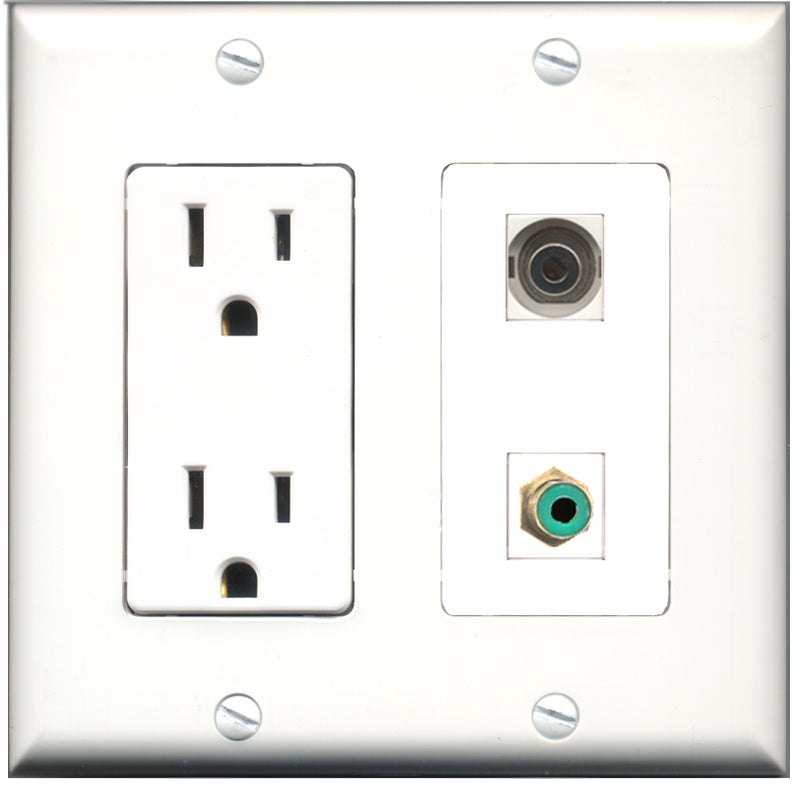 Wallplate City - 15 Amp Power Outlet 1 Port RCA Green 1 Port 3.5mm Decorative Wall Plate