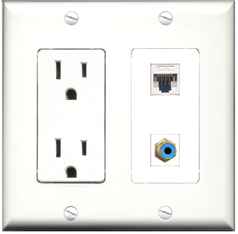 Wallplate City - 15 Amp Power Outlet 1 Port RCA Blue 1 Port Cat5e White Decorative Wall Plate