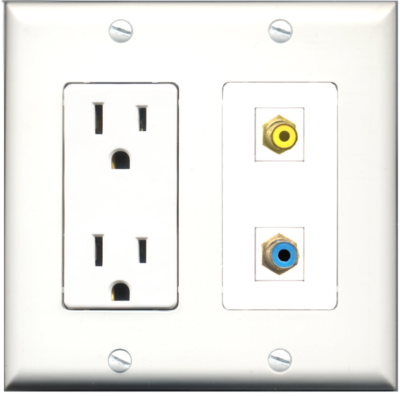 Wallplate City - 15 Amp Power Outlet 1 Port RCA Yellow 1 Port RCA Blue Decorative Wall Plate