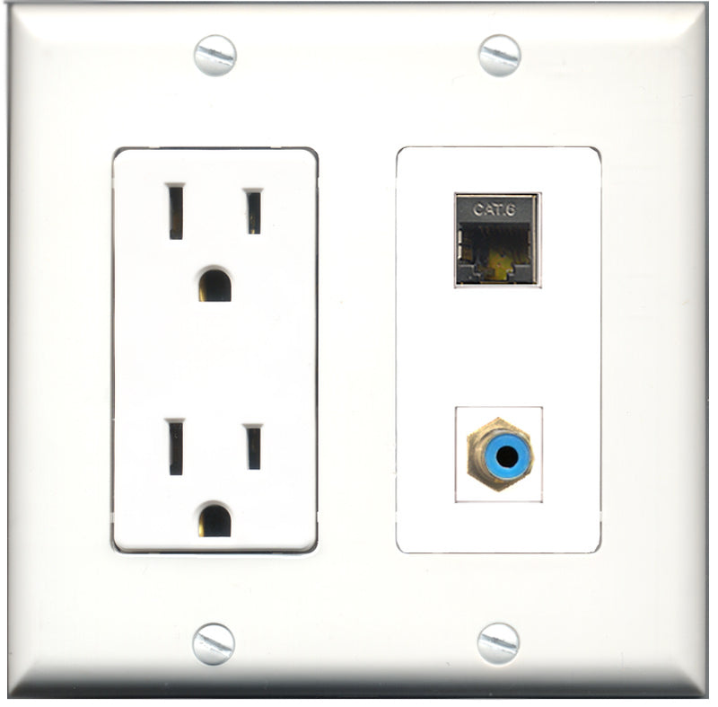 Wallplate City - 15 Amp Power Outlet 1 Port RCA Blue 1 Port Shielded Cat6 Decorative Wall Plate