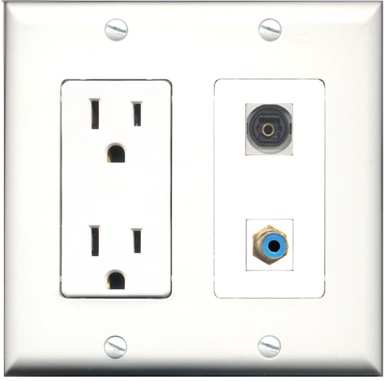 Wallplate City - 15 Amp Power Outlet 1 Port RCA Blue 1 Port Toslink Decorative Wall Plate