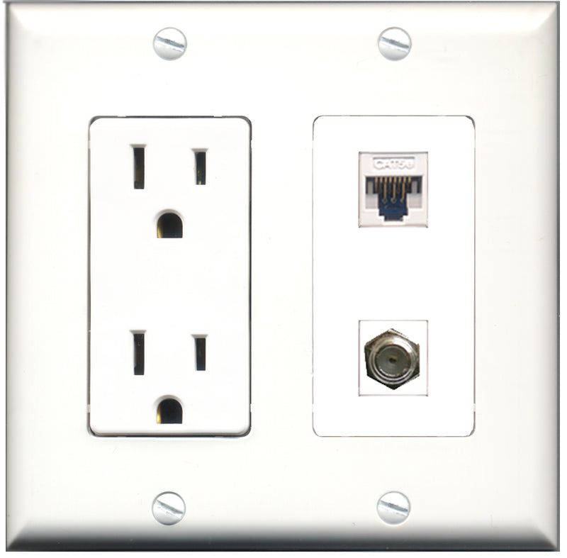 Wallplate City - 15 Amp Power Outlet 1 Port Coax 1 Port Cat5e White Decorative Wall Plate